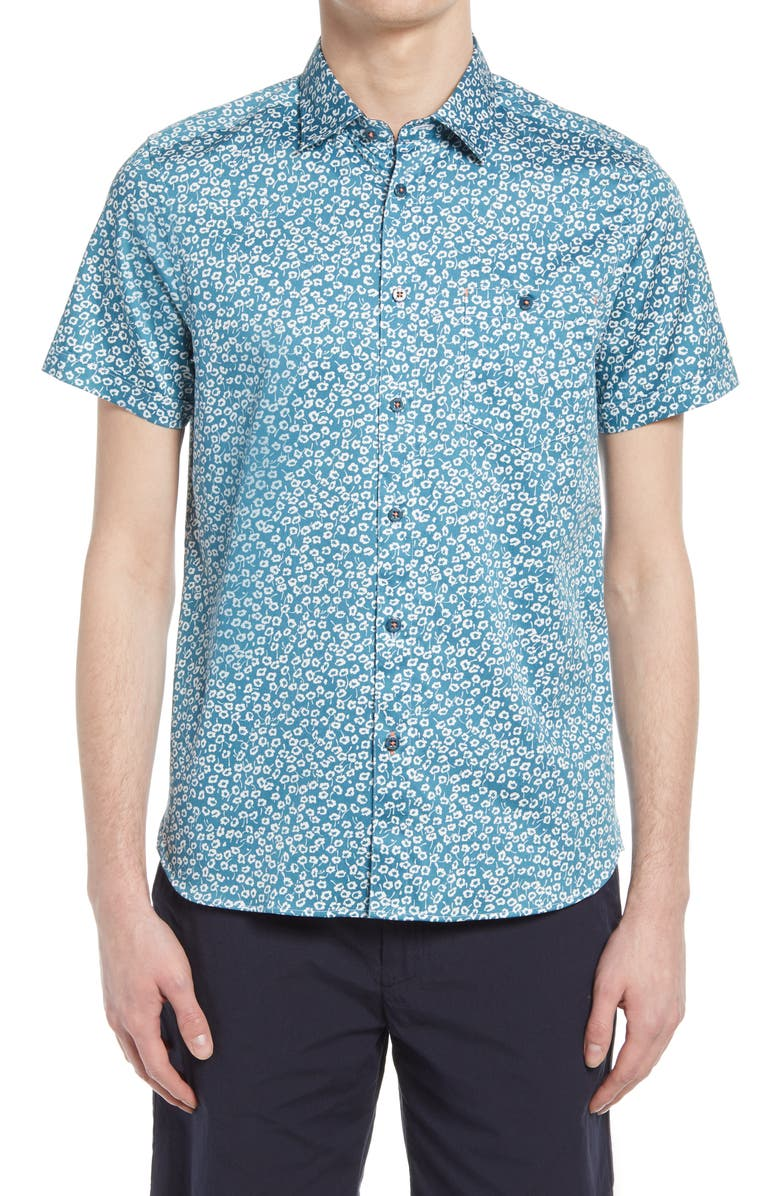 TED BAKER LONDON Parslee Floral Stretch Short Sleeve Button-Up Shirt, Main, color, BLUE