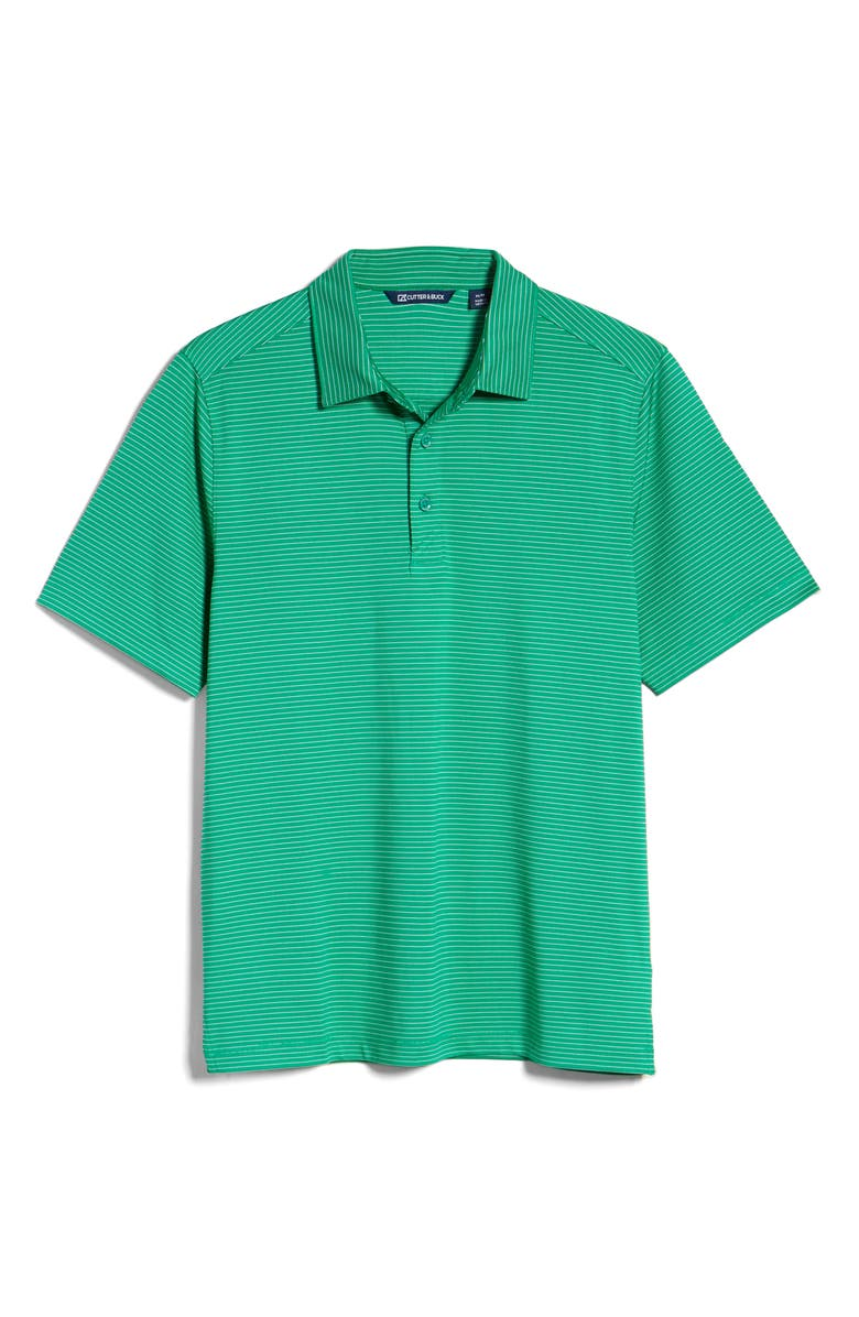 CUTTER & BUCK Forge DryTec Pencil Stripe Performance Polo, Main, color, KELLY GREEN
