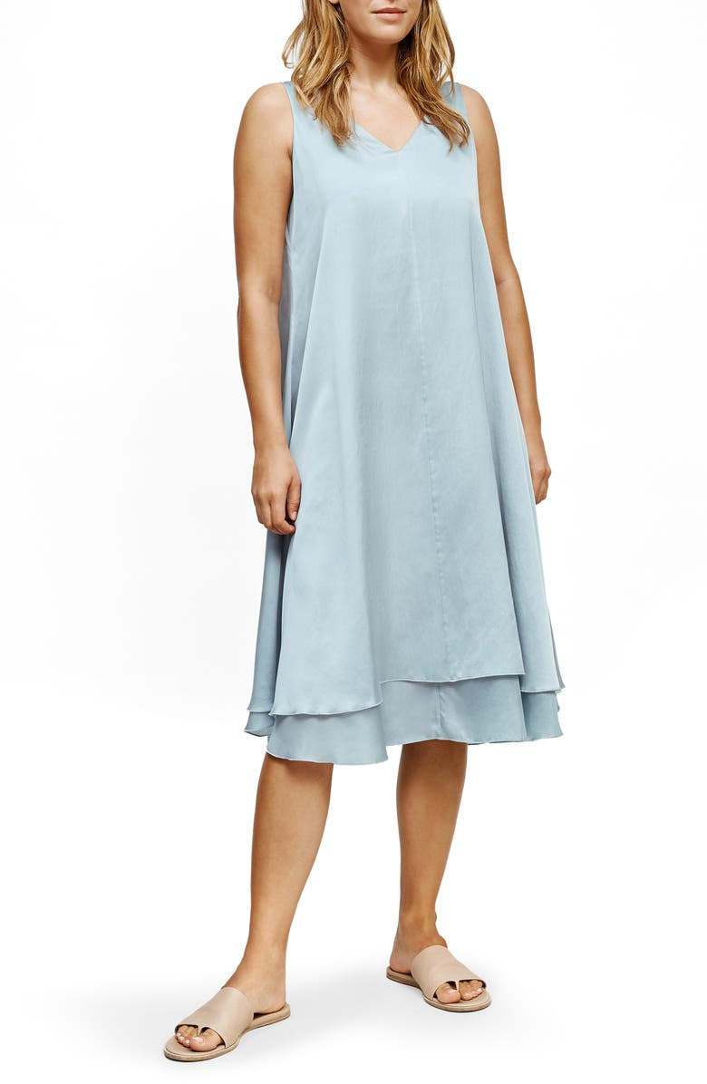 EILEEN FISHER V-Neck Tiered Silk & Organic Cotton Dress, Main, color, DAWN