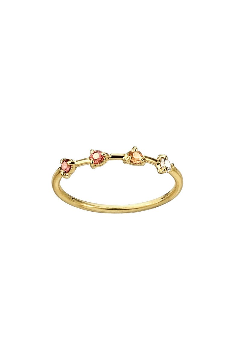 WWAKE Counting Collection Four-Step Pink Tourmaline, Sunstone & White Diamond Ring, Main, color, PINK TOURMALINE WHITE