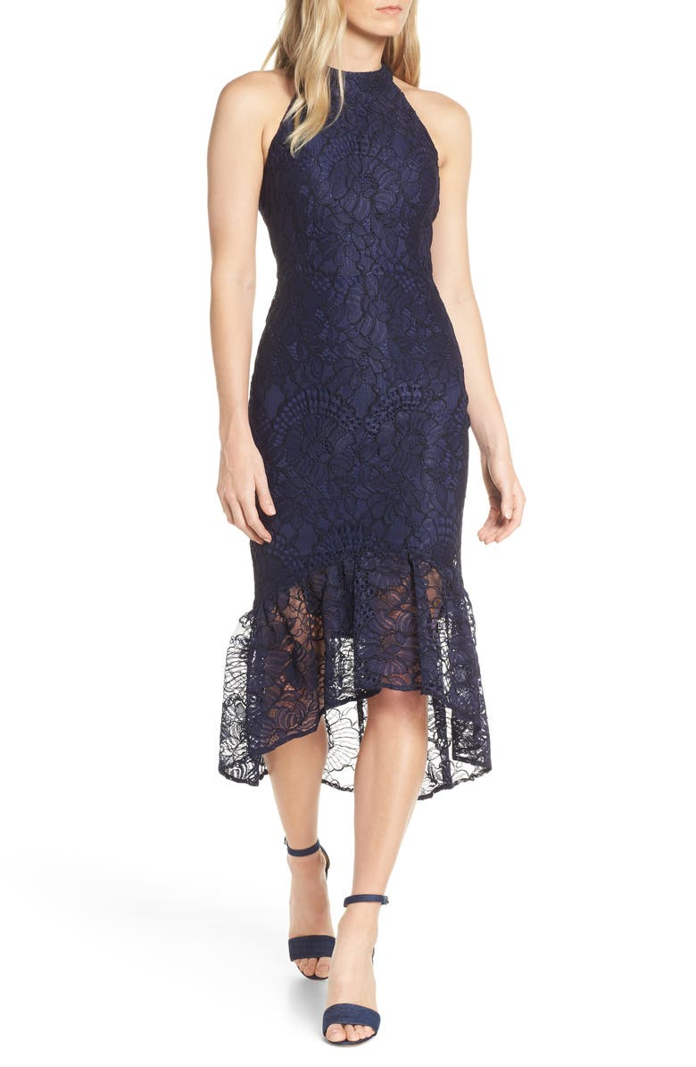 FOREST LILY Lace Halter High/Low Dress, Main, color, NAVY