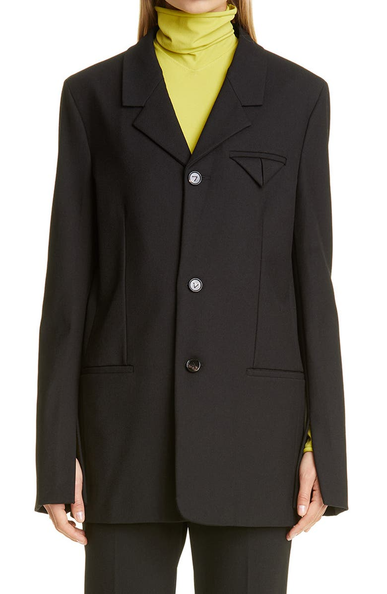 BOTTEGA VENETA Split Cuff Oversize Blazer, Main, color, BLACK