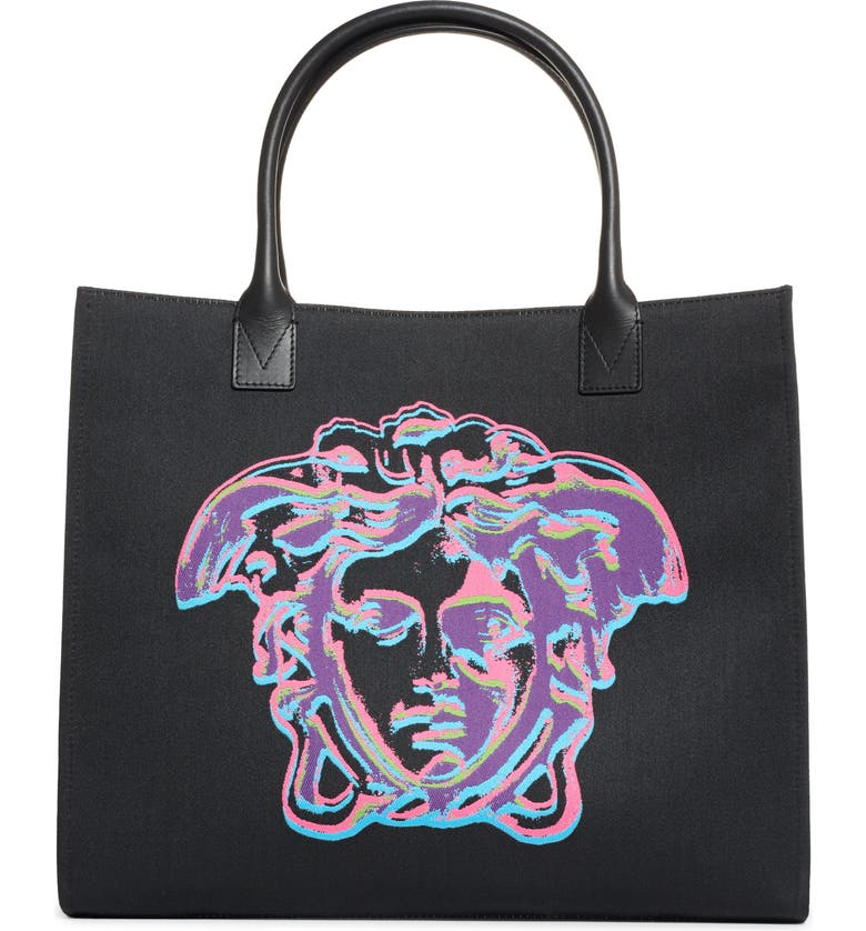 VERSACE Medusa Canvas Tote, Main, color, 003