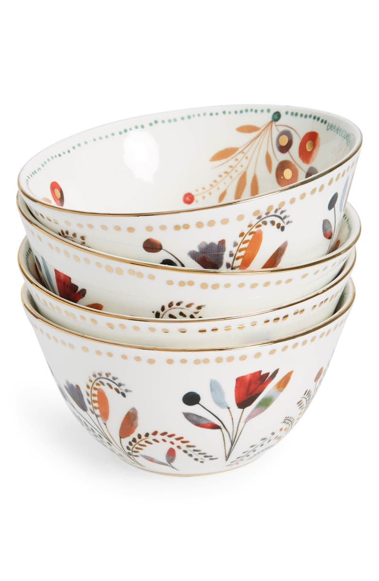 ANTHROPOLOGIE HOME Pheasant Moths Set of 4 Bowls, Main, color, 100