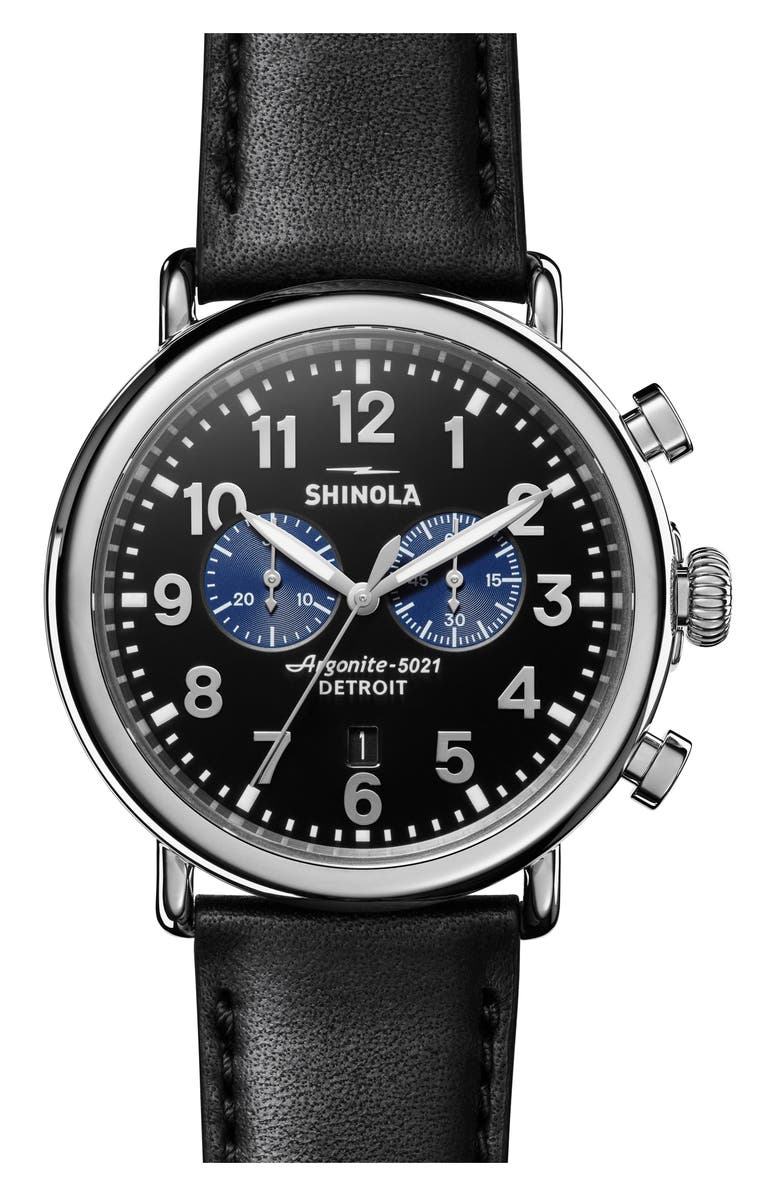 SHINOLA The Runwell Chrono Leather Strap Watch, 47mm, Main, color, BLACK/ SILVER