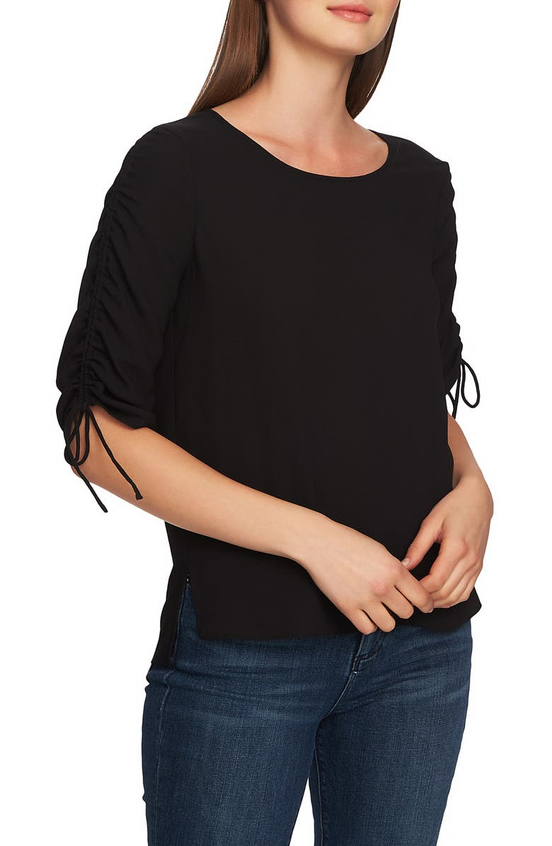 1.STATE Ruched Detail Tie Sleeve Blouse, Main, color, 001