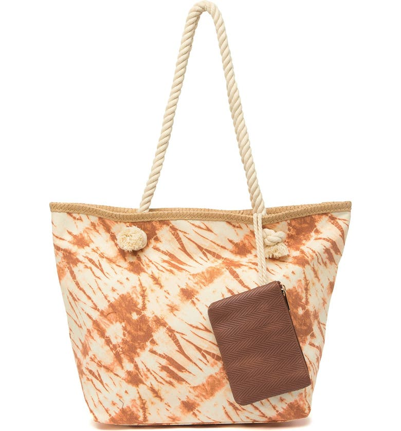 MADDEN GIRL Tie Dye Print Tote Bag with Pouch, Main, color, NATURAL TIE DYE