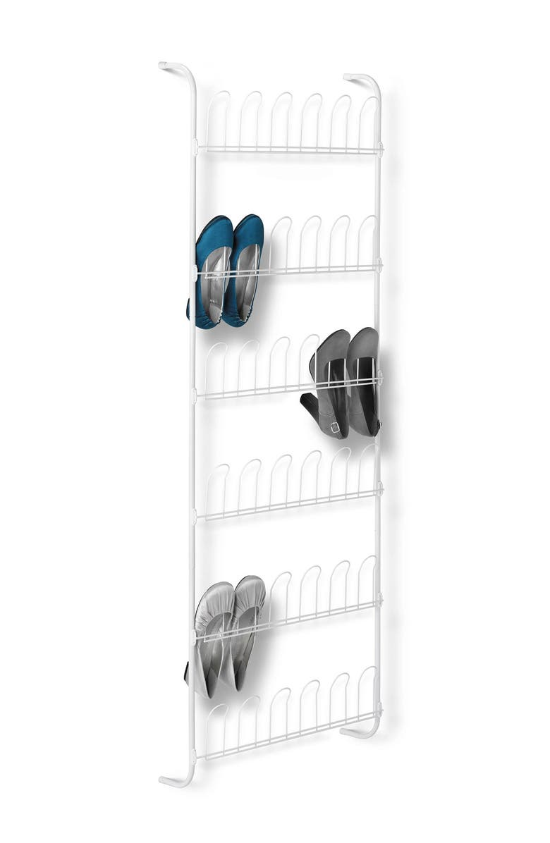 HONEY-CAN-DO White 18 Pair Over the Door Shoe Rack, Main, color, WHITE