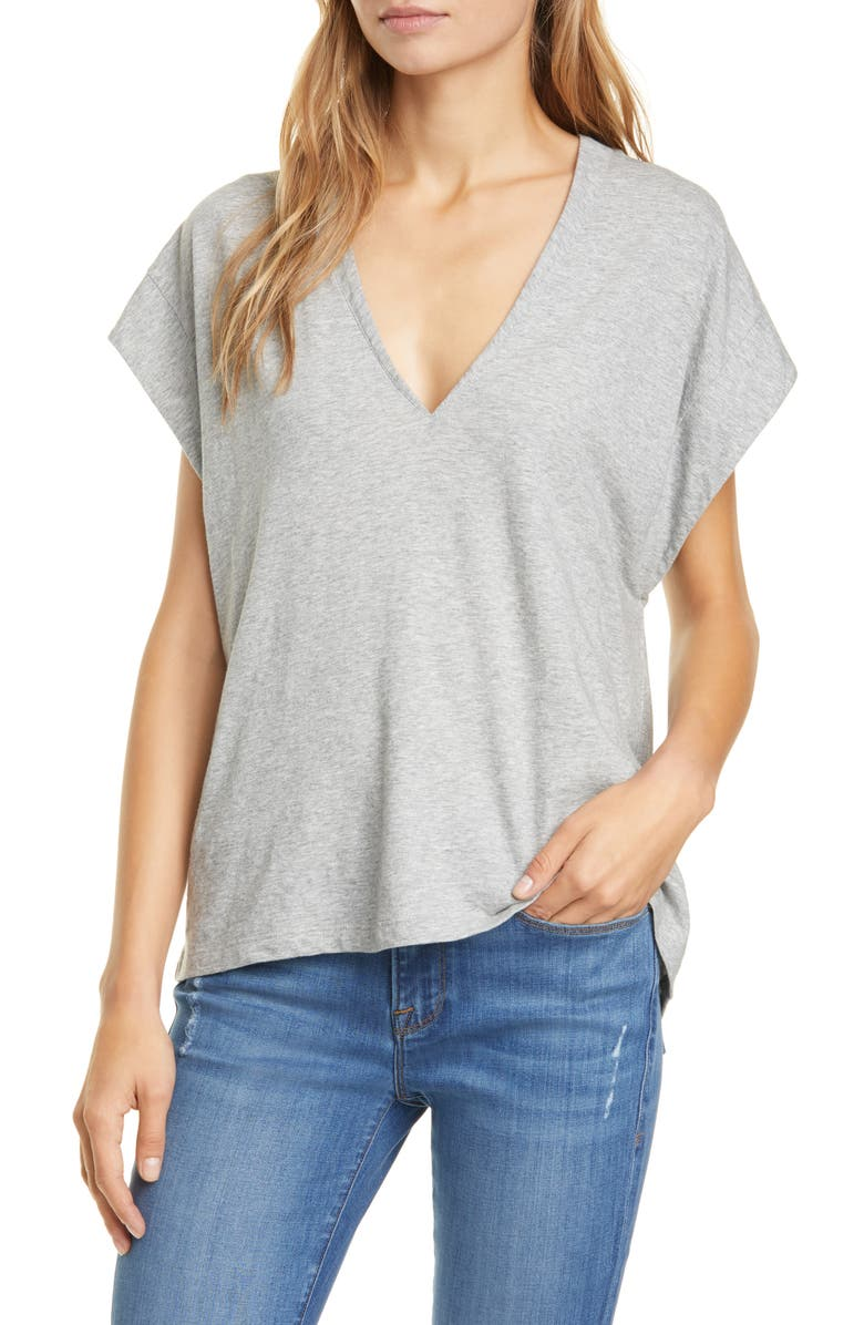FRAME Le Mid Rise V-Neck Tee, Main, color, GRIS HEATHER