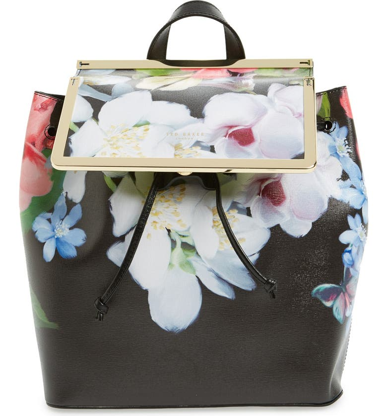 TED BAKER LONDON 'Forget Me Not' Leather Backpack, Main, color, 001