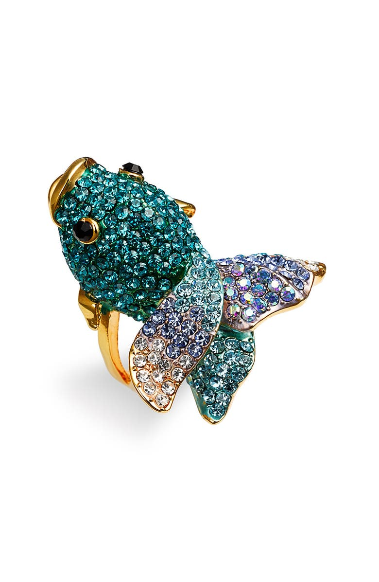 CARA Accessories 'Critters' Blowfish Crystal Stretch Ring, Main, color, 960
