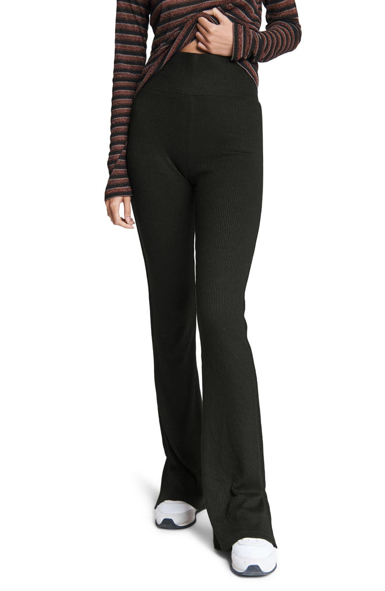 RAG & BONE Rib Knit Flare Pants, Main, color, BLACK