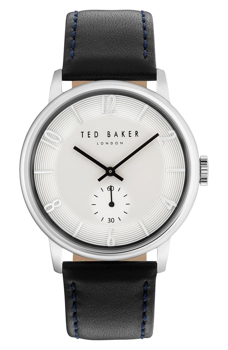 TED BAKER LONDON Daniel Leather Strap Watch, 42mm, Main, color, 004