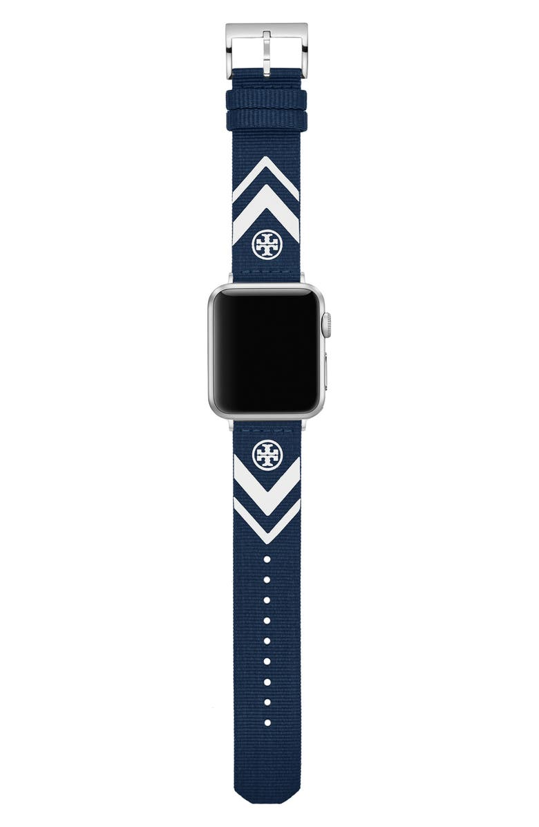 TORY BURCH The Chevron Woven Strap for Apple<sup>®</sup> Watch, 38mm/40mm, Main, color, Blue