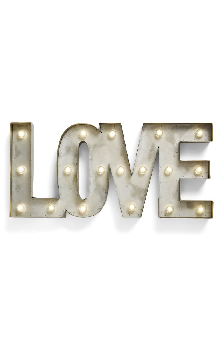 CREATIVE CO-OP 'LOVE' LED Marquee Sign, Main, color, METAL