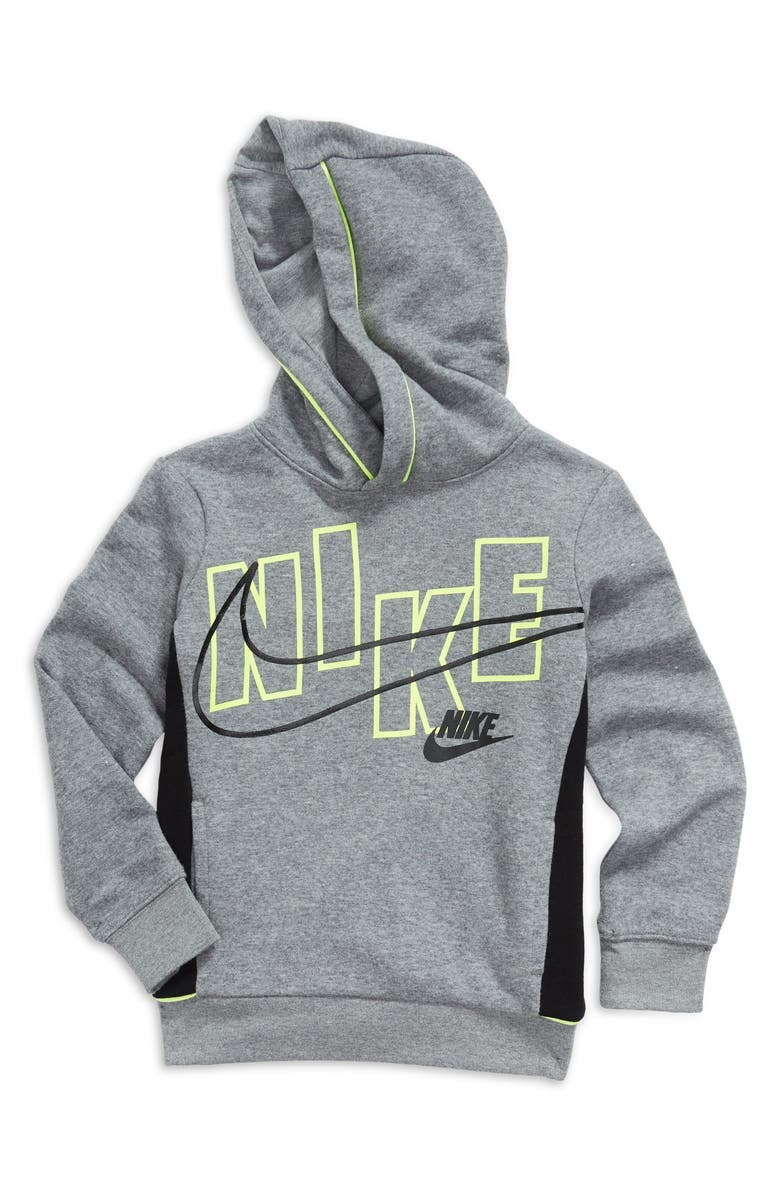 NIKE Kids' See Me Logo Pullover Hoodie, Main, color, CARBON HEATHER