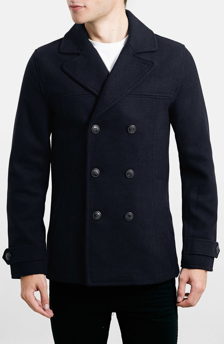 TOPMAN Wool Blend Double Breasted Peacoat, Main, color, 410