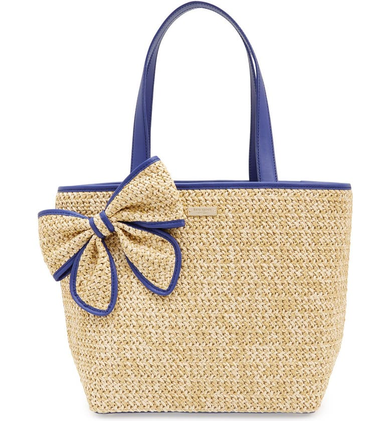 KATE SPADE NEW YORK kate spade 'belle place' straw tote, Main, color, NATURAL/ AEGEAN COBALT