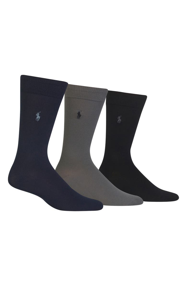 POLO RALPH LAUREN Assorted 3-Pack Supersoft Socks, Main, color, NAVY MULTI