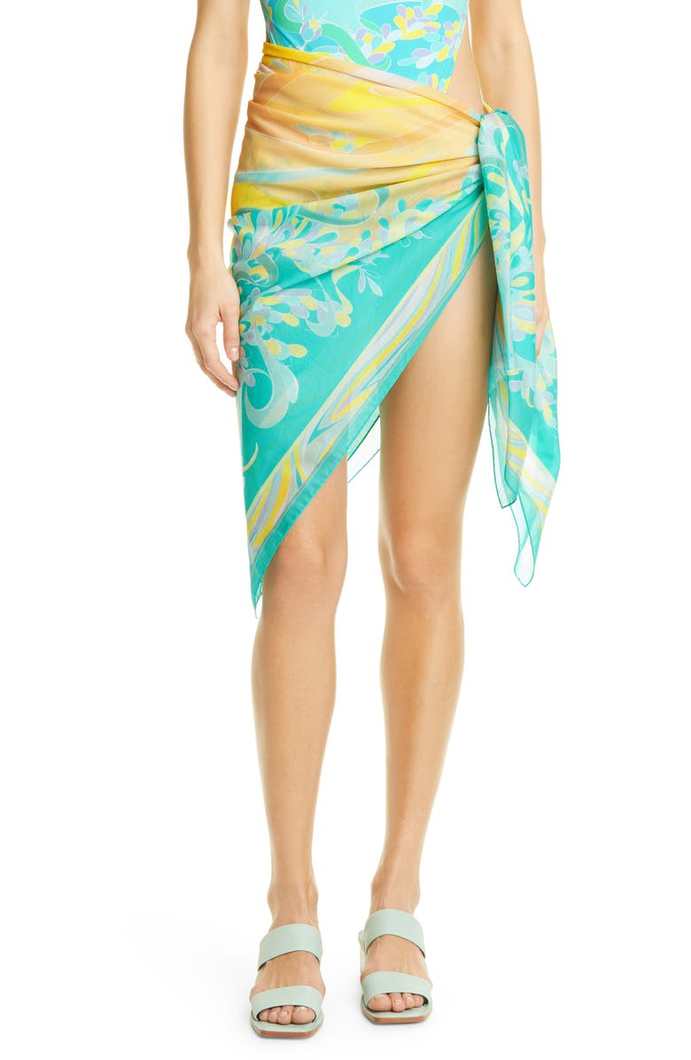 EMILIO PUCCI Lily Print Cover-Up Pareo, Main, color, 402