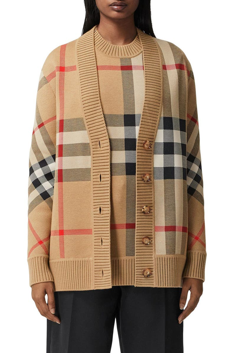 BURBERRY Caragh Check Jacquard Cardigan, Main, color, ARCHIVE BEIGE