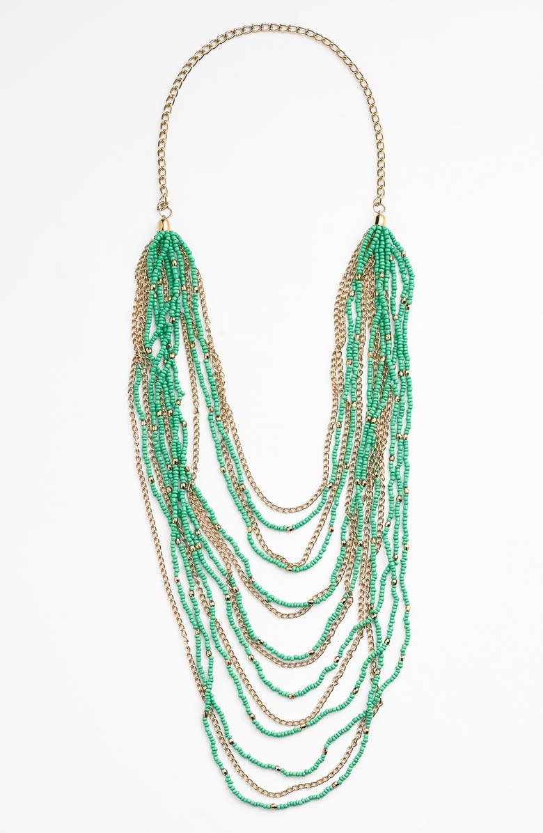 BP. Beaded Layered Necklace, Main, color, GREEN