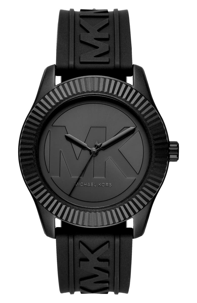 MICHAEL KORS Maddye Logo Silicone Strap Watch, 43mm, Main, color, 001