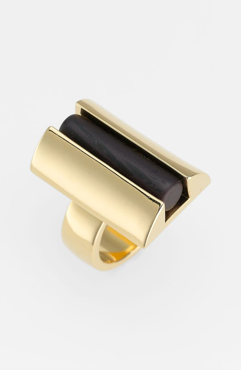 TORY BURCH 'Column Resin' Statement Ring, Main, color, BLACK/ GOLD