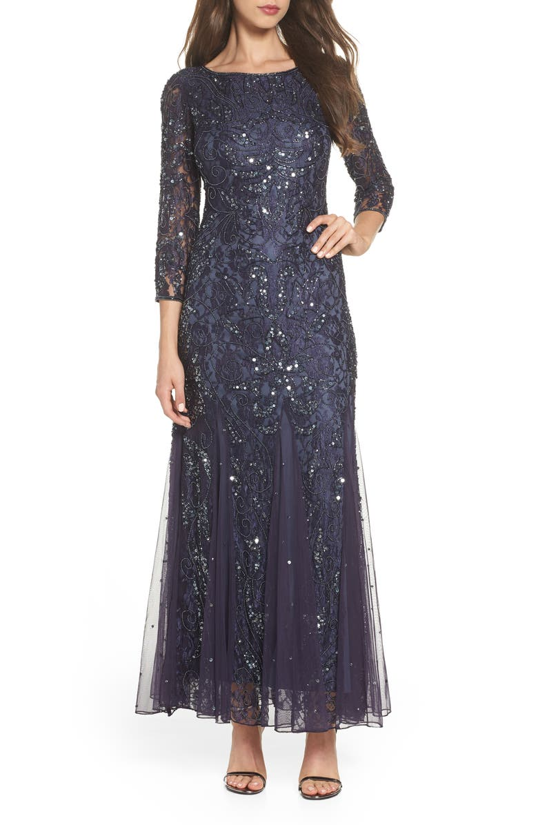 PISARRO NIGHTS Beaded Lace Gown, Main, color, SLATE