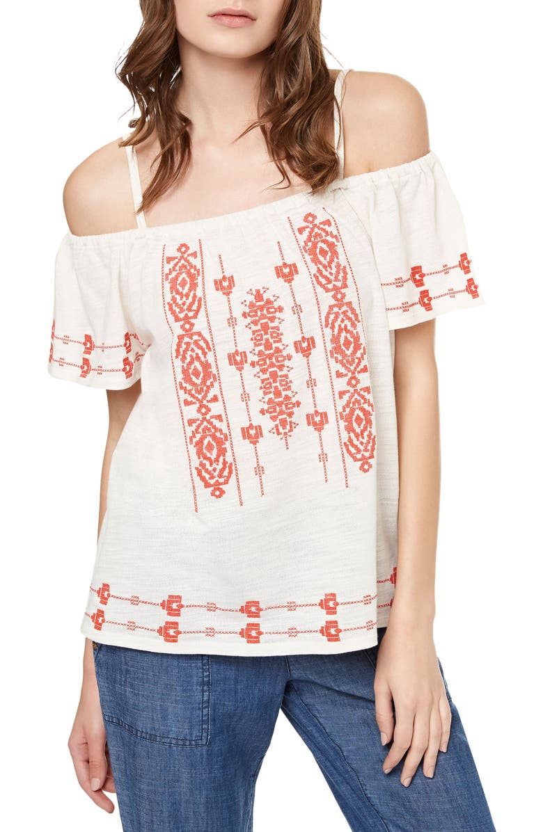 SANCTUARY Magnolia Embroidered Off the Shoulder Top, Main, color, LIGHT DUNE
