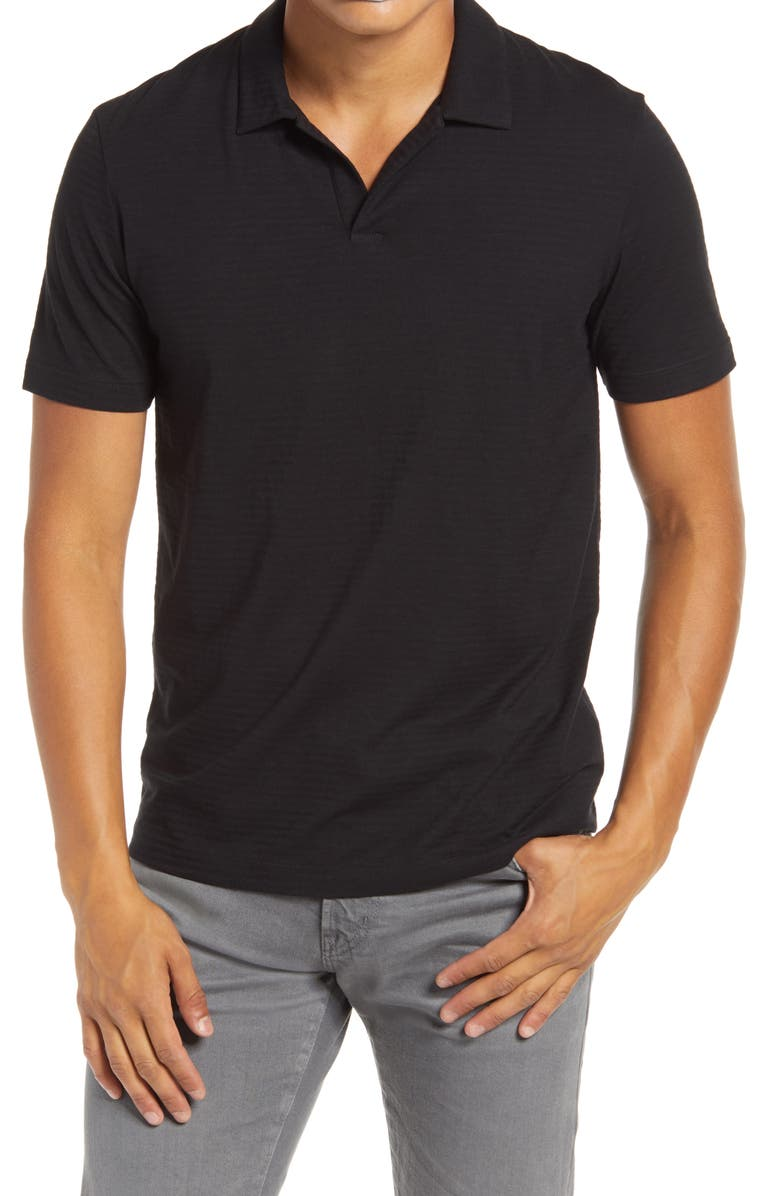THEORY Willem Flame Regular Fit Short Sleeve Slub Jersey Polo, Main, color, BLACK