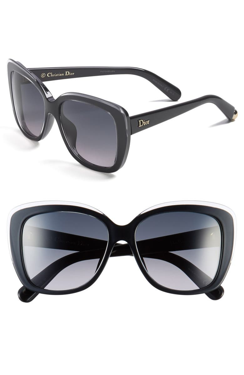 DIOR 'Promesse 2' 56mm Sunglasses, Main, color, 001