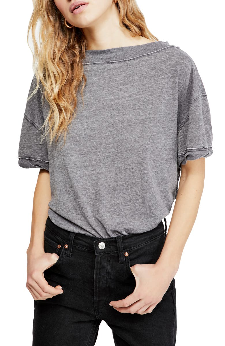 FREE PEOPLE Viola Open Back Tee, Main, color, 001