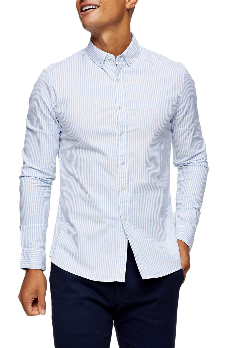 TOPMAN Skinny Fit Pinstripe Button-Down Stretch Oxford Shirt, Main, color, 400