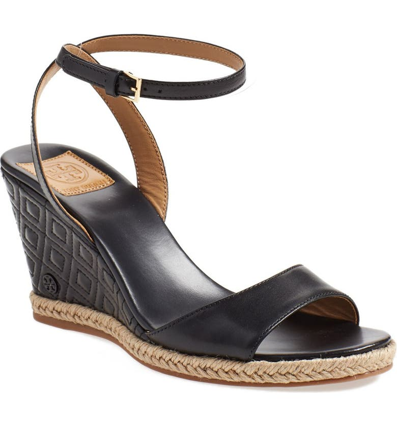 TORY BURCH 'Marion' Wedge Sandal, Main, color, 001