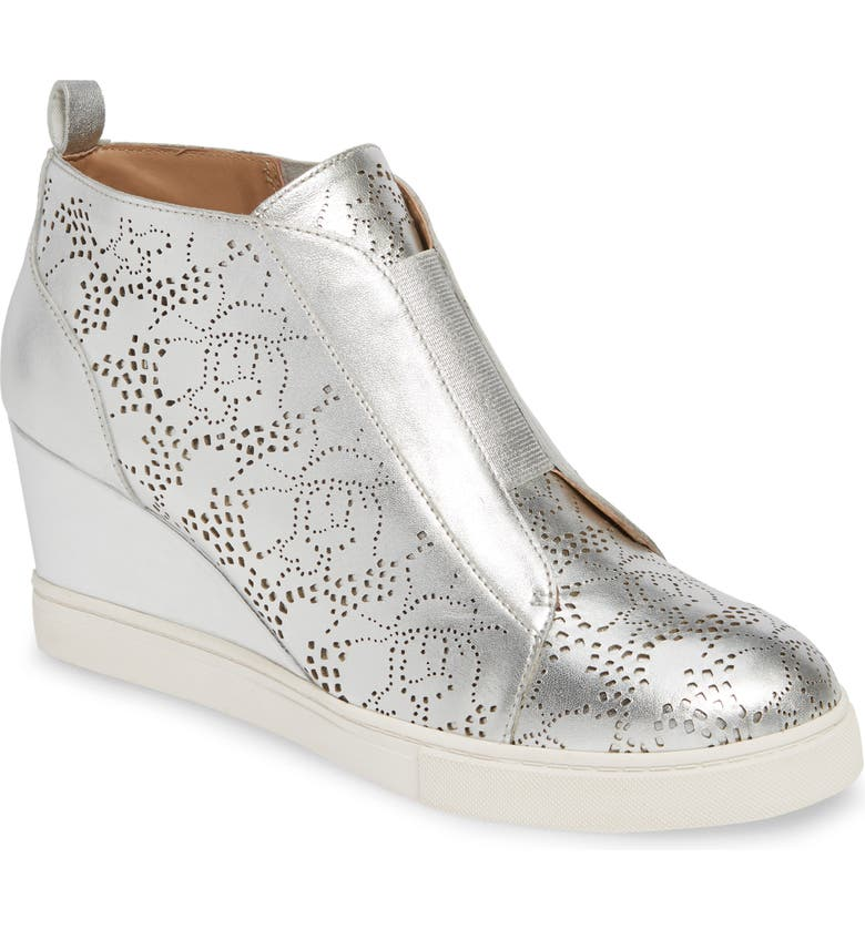 LINEA PAOLO Felicia II Wedge Bootie, Main, color, SILVER METALLIC LEATHER