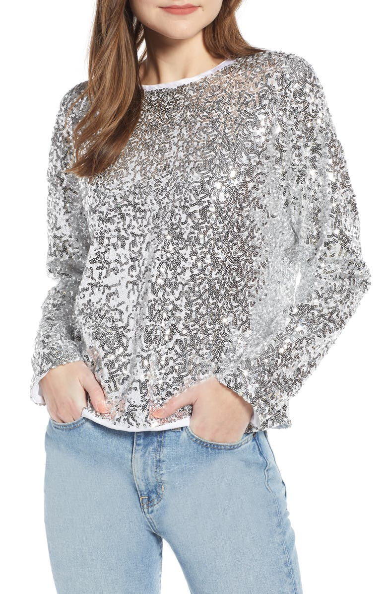 SOMETHING NAVY Sequin Sweatshirt, Main, color, 040