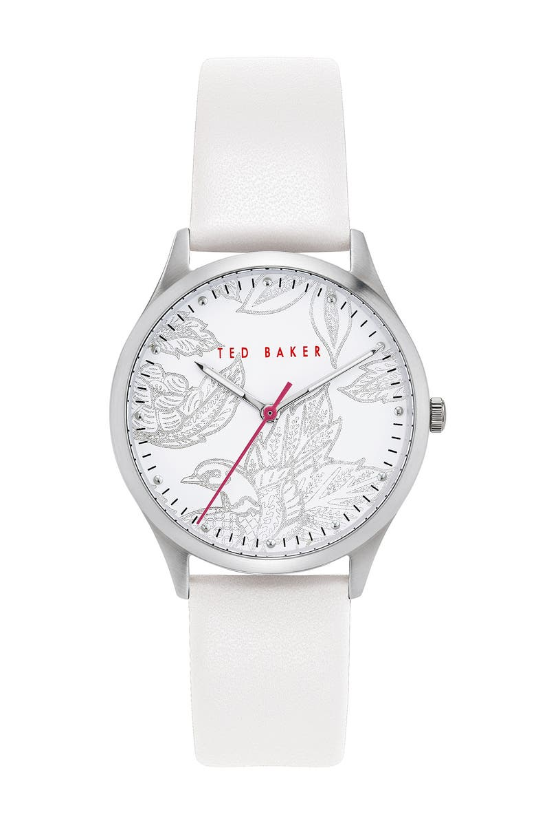TED BAKER LONDON Women's Belgravia White Leather Strap Watch, 36mm, Main, color, SILVER/ WHITE/ WHITE