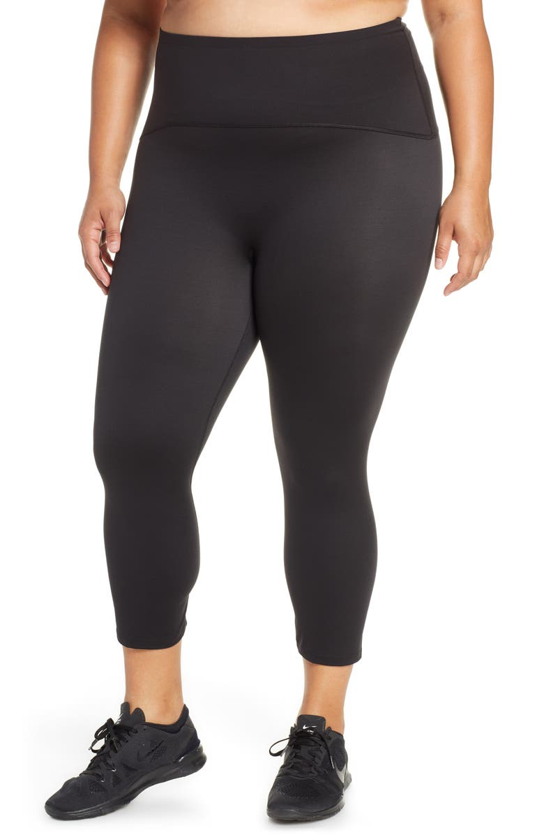 SPANX<SUP>®</SUP> Active Crop Leggings, Main, color, BLACK
