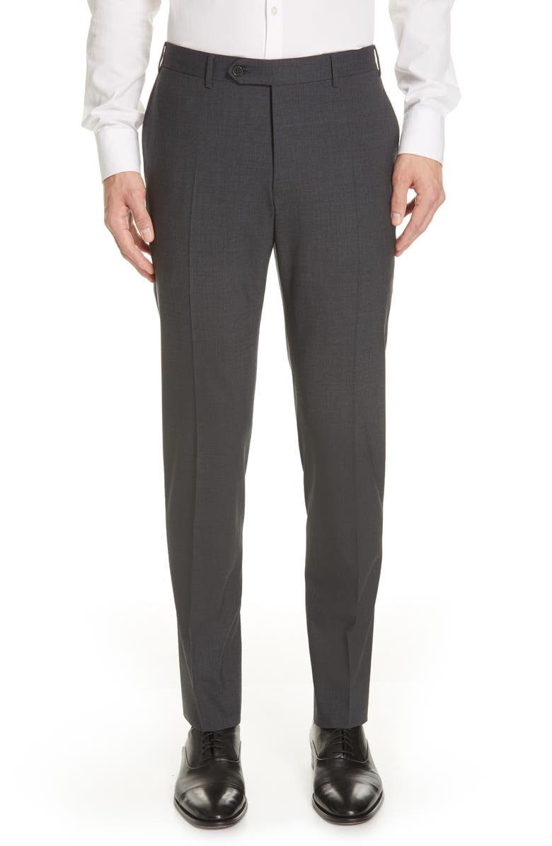 CANALI Flat Front Classic Fit Solid Stretch Wool Dress Pants, Main, color, CHARCOAL