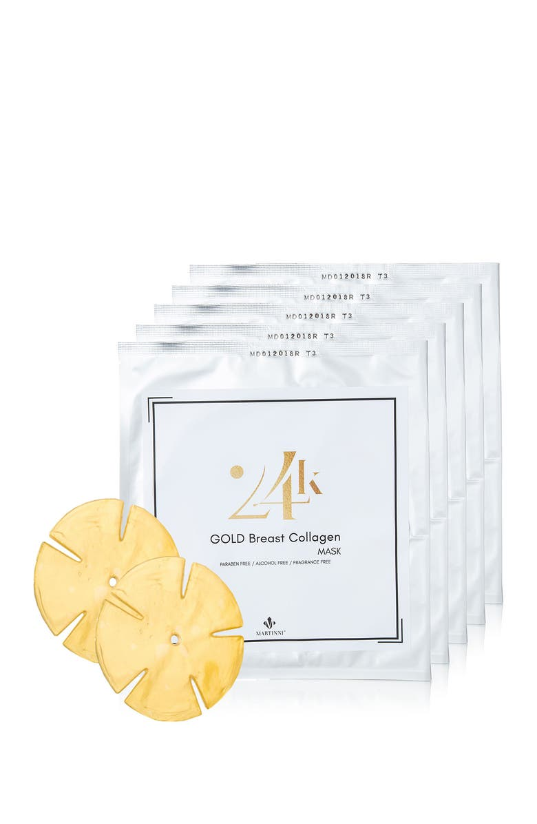 MARTINNI 24K Gold Collagen Breast Mask – 5 Pairs, Main, color, NO COLOR