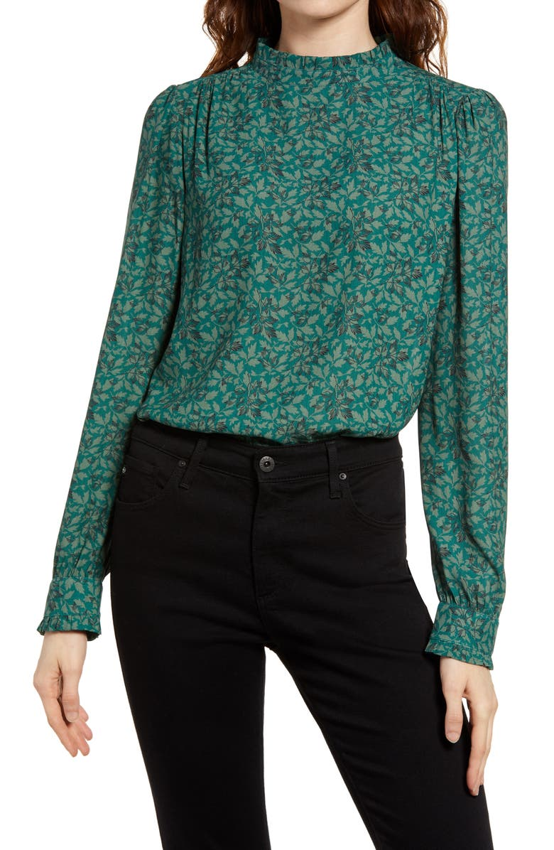 TREASURE & BOND Puff Sleeve Blouse, Main, color, GREEN- BLACK VINTAGE LEAVES