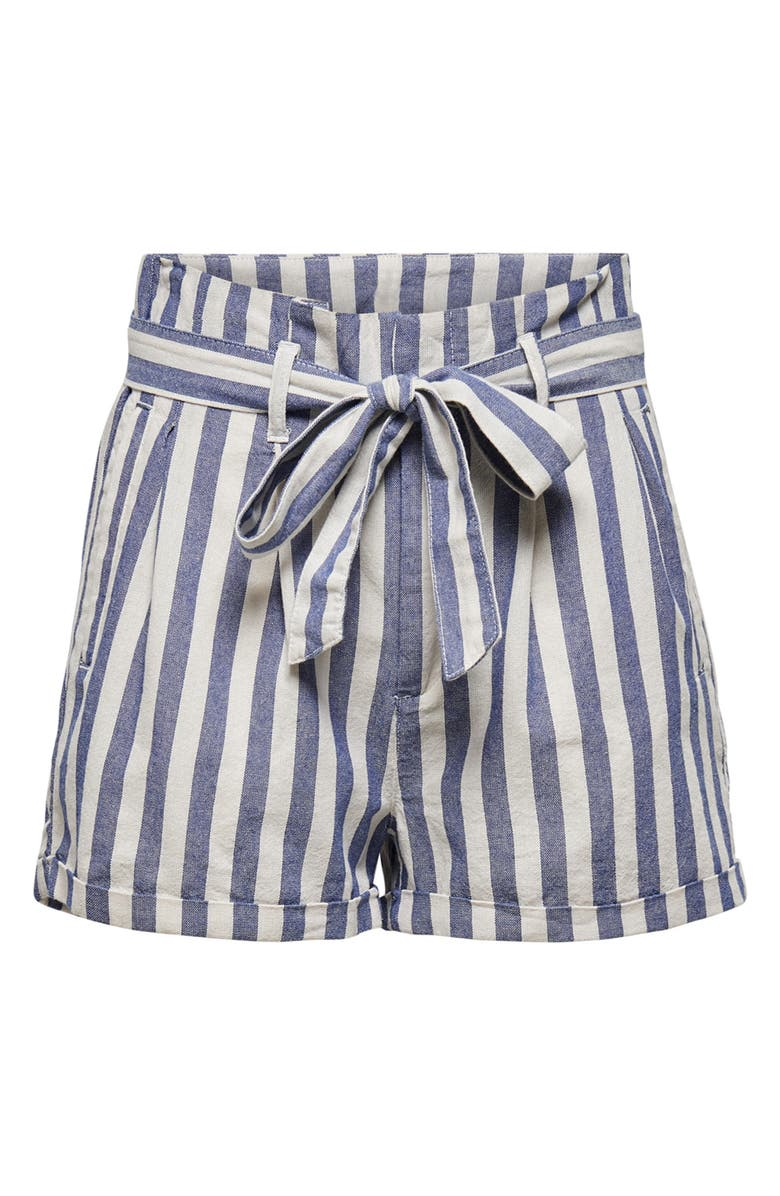 ONLY Stripe Paperbag Waist Shorts, Main, color, 400