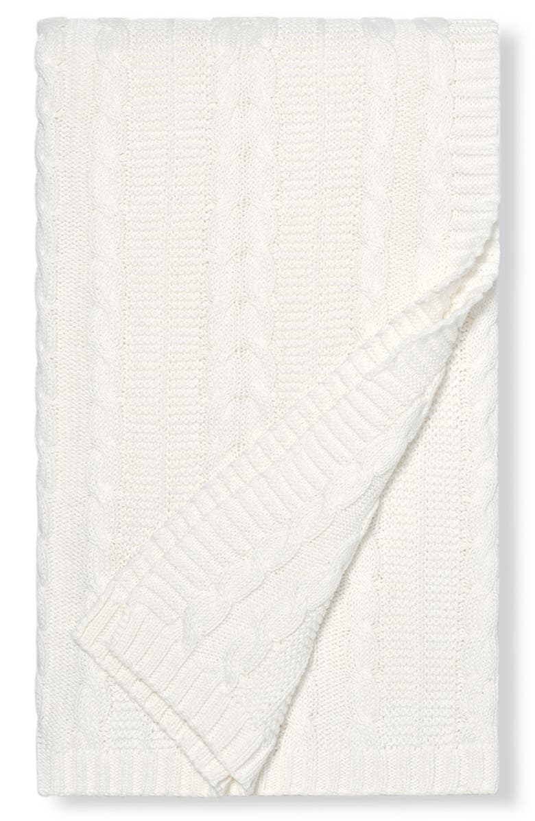BOLL & BRANCH Cable Knit Nap Throw, Main, color, BIRCH WHITE