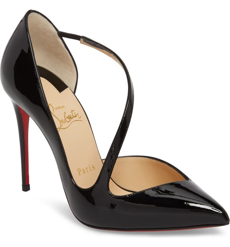 CHRISTIAN LOUBOUTIN Strappy Half d'Orsay Pump, Main, color, 001