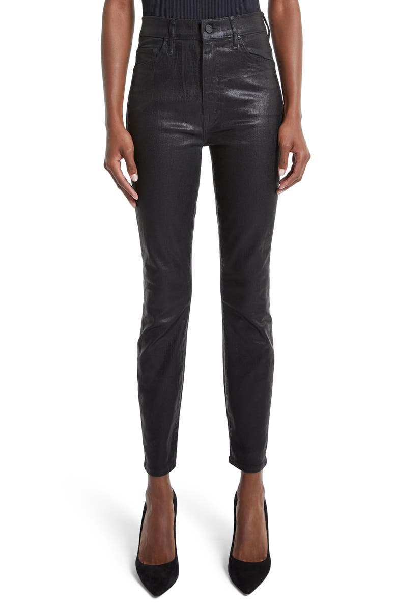 MOTHER The Swooner High Waist Coated Ankle Skinny Jeans, Main, color, BLACK