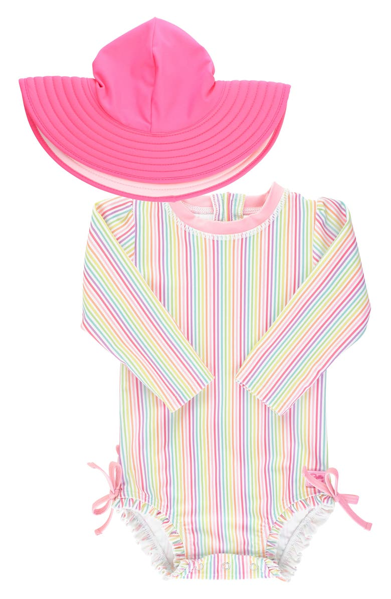 RUFFLEBUTTS Rainbow Stripe One-Piece Rashguard Swimsuit & Floppy Sun Hat Set, Main, color, PINK