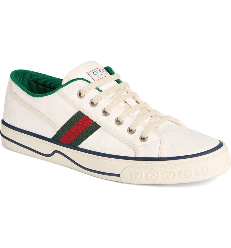 GUCCI Web Canvas Low Top Sneaker, Main, color, IVORY MULTI