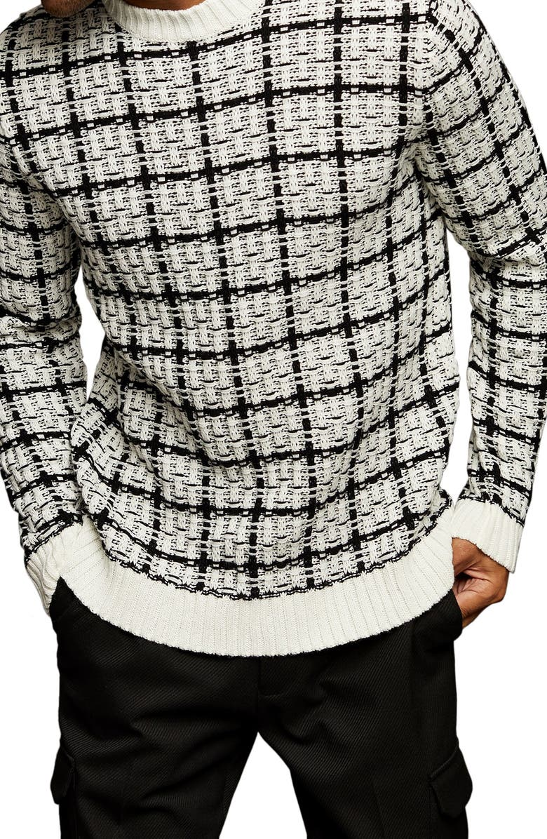 TOPMAN Check Crewneck Sweater, Main, color, WHITE MULTI