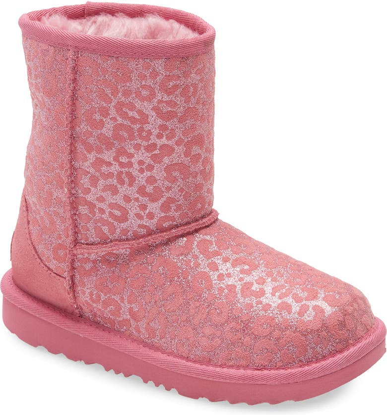 UGG<SUP>®</SUP> Classic II Glitter Leopard Boot, Main, color, WILD BERRY